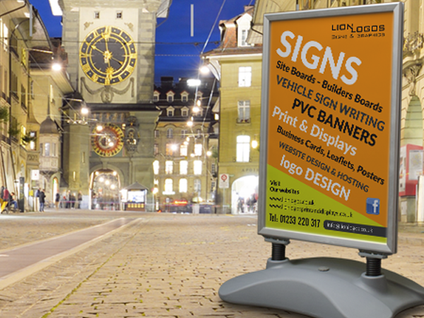 Pavement signage large and small supplied with your design ready to go.